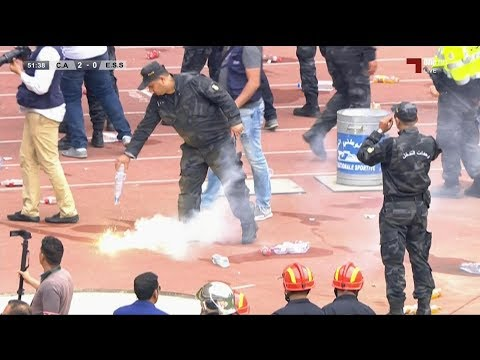 أعمال شغب في نهائي كأس تونس وإصابة أحد اللاعبين بمقذوف ناري في رأسه