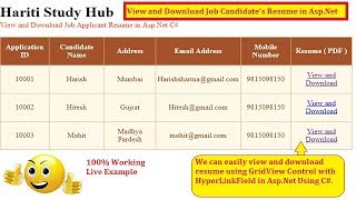 View and Download Uploaded Resume PDF in Asp.Net C# | Hindi | Free Online Classes | Job Application