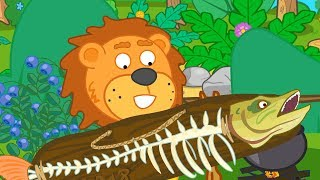 Lion Family Dad caught a Pike Cartoon for Kids