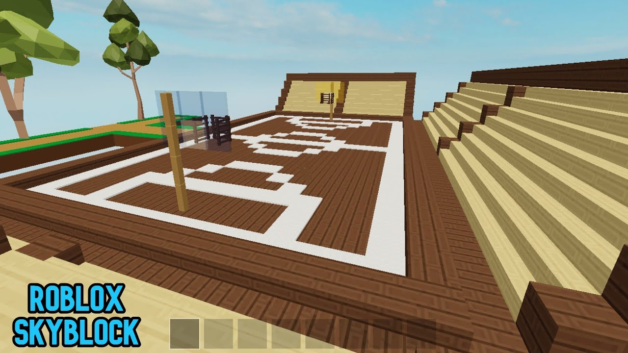 How To Build Basketball Court In Roblox Skyblock Youtube