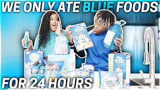 We Only Ate BLUE FOODS For 24 HOURS!! (IMPOSSIBLE CHALLENGE)