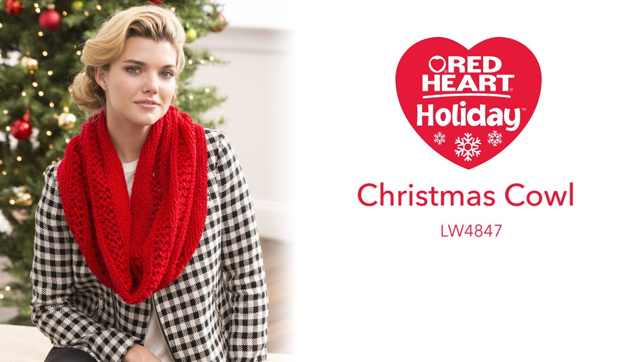 Christmas Cowl Knit in Red Heart Holiday - YouTube