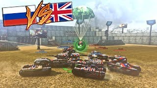 Tanki Online NEW STADIUM RUGBY MODE - Wasp + Railgun (Russian VS English) | Spectator Mode