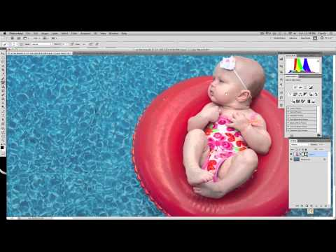 Compositing a baby onto a swimming pool with layer masks in Photoshop