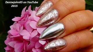 CHROMED METAL Nude Nails !!!!   ( short ) ------------OPI Push and Shove