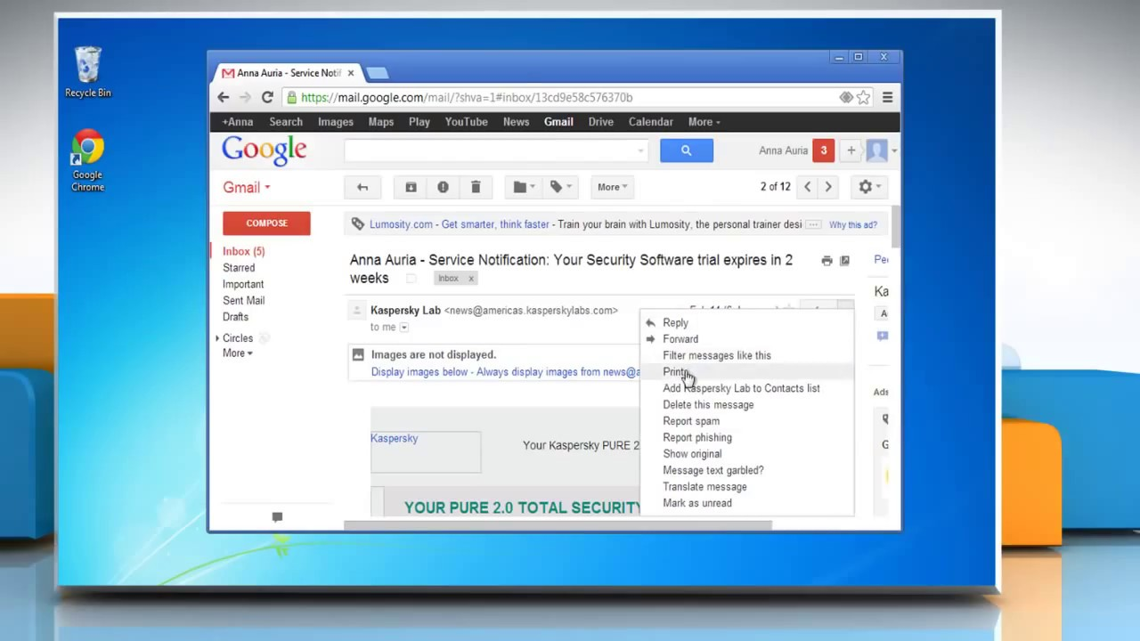 How To Print Email Messages In Gmail Youtube