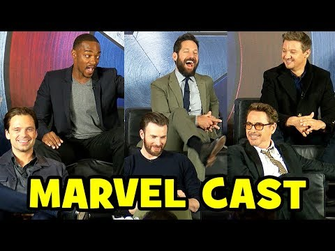 MARVEL CAST s at CAPTAIN AMERICA Civil War Press Conference