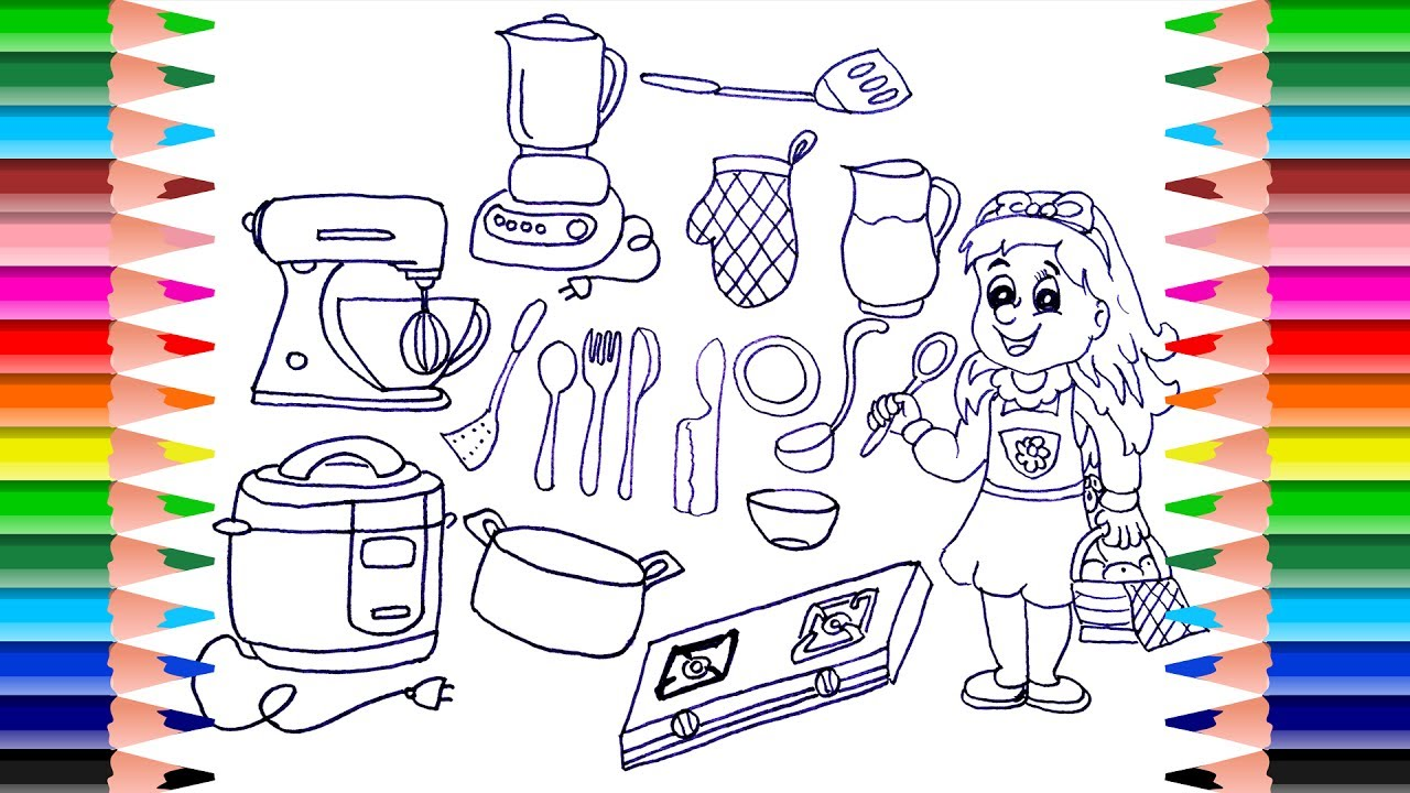 How to draw kitchen set for girls drawing cooking toys for Kitchen set drawing