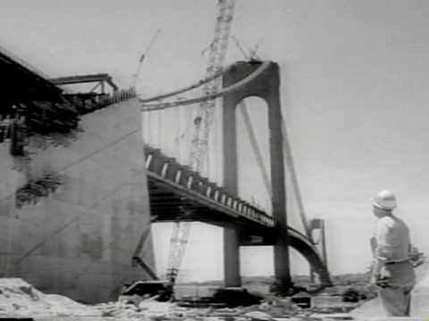 1963 - BUILDING THE VERAZZANO NARROWS BRIDGE - Universal Newsreel