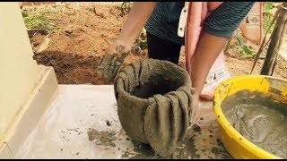 DIY CEMENT PROJECTS - Cement pot using SOCCER BALL and WINTER HEAD CAP