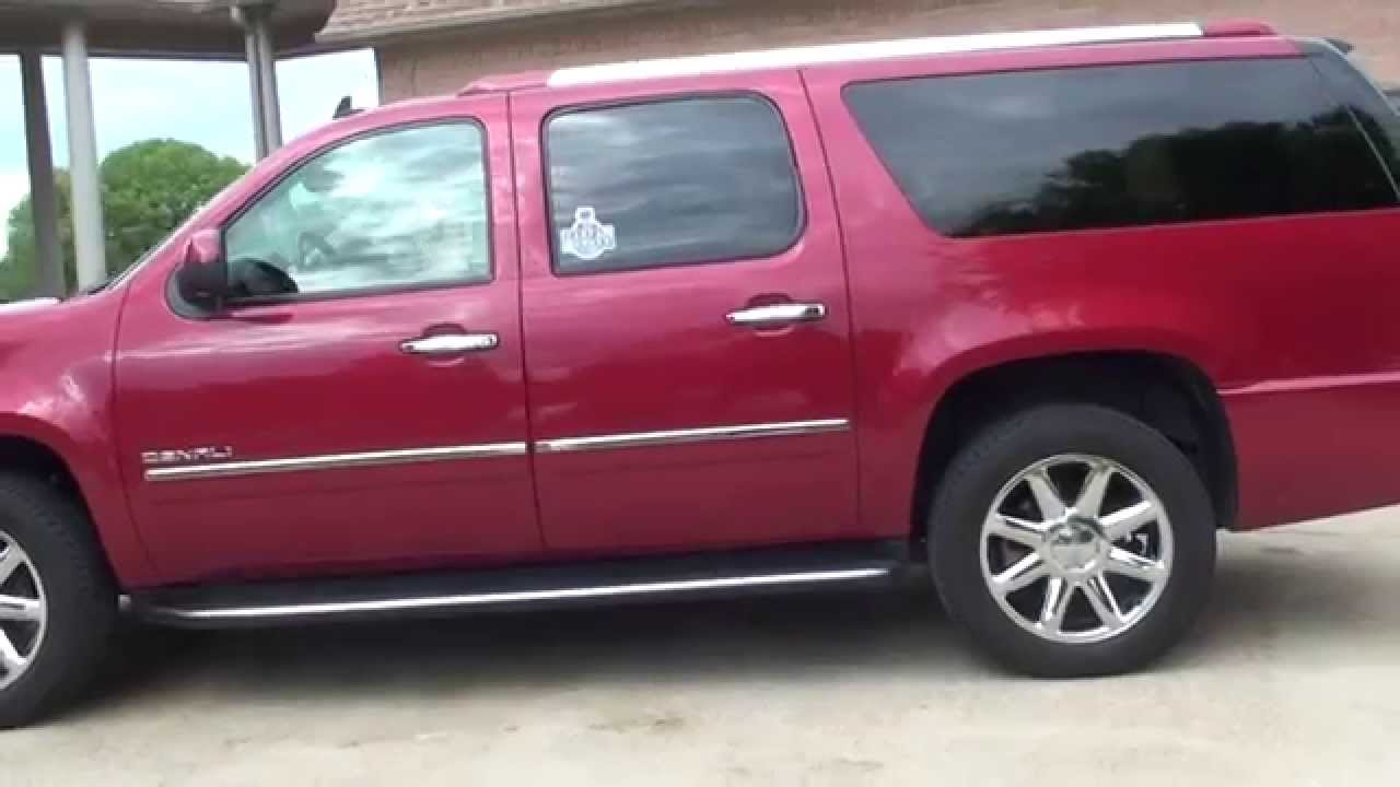 hd video 2013 gmc yukon xl denali red used awd for sale see www sunsetmotors com youtube. Black Bedroom Furniture Sets. Home Design Ideas