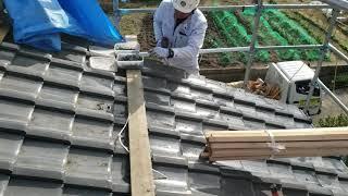 今回の台風で被害が多かった屋根端部、 風圧力が働き上昇の力で飛散しましたが、それに対応するための留め付け施工。 きちんと行います。 有限会社廣安瓦建材 岡山市 ...