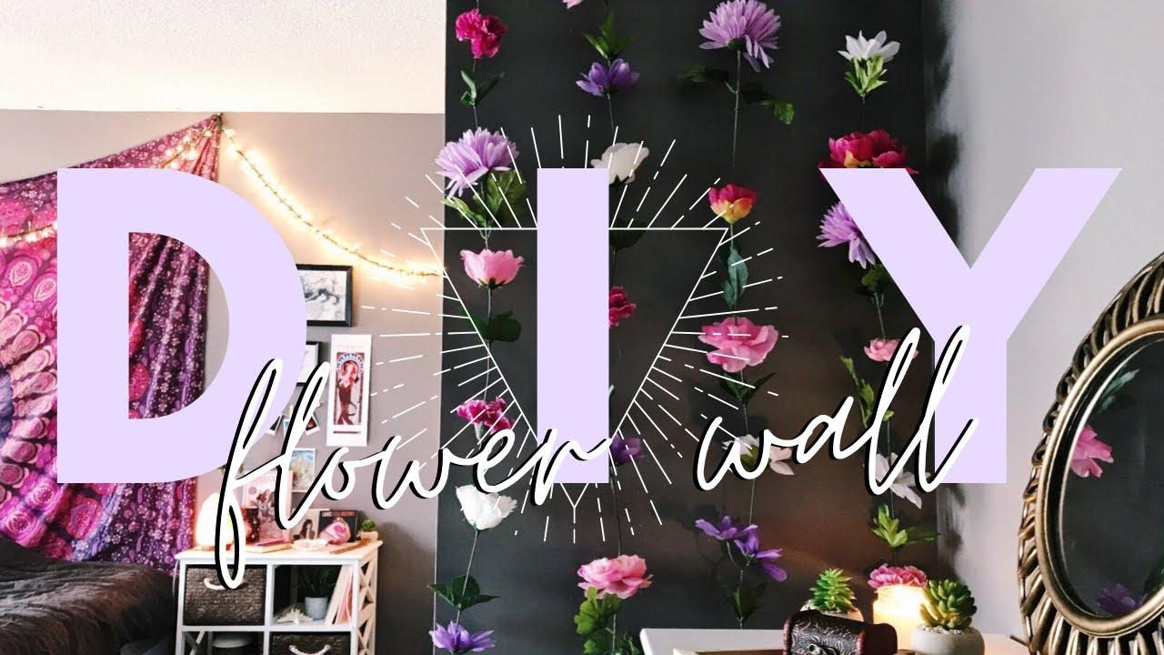 DIY EASY AESTHETIC FLOWER WALL / georgia stavs - YouTube