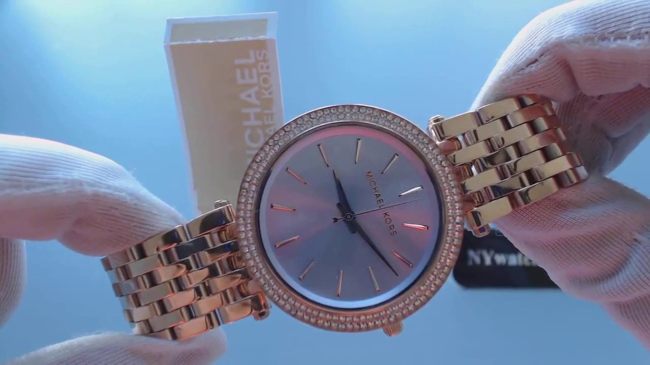 1894723a9d32a Women s Rose Gold Michael Kors Darci Glitz Watch MK3400 - YouTube
