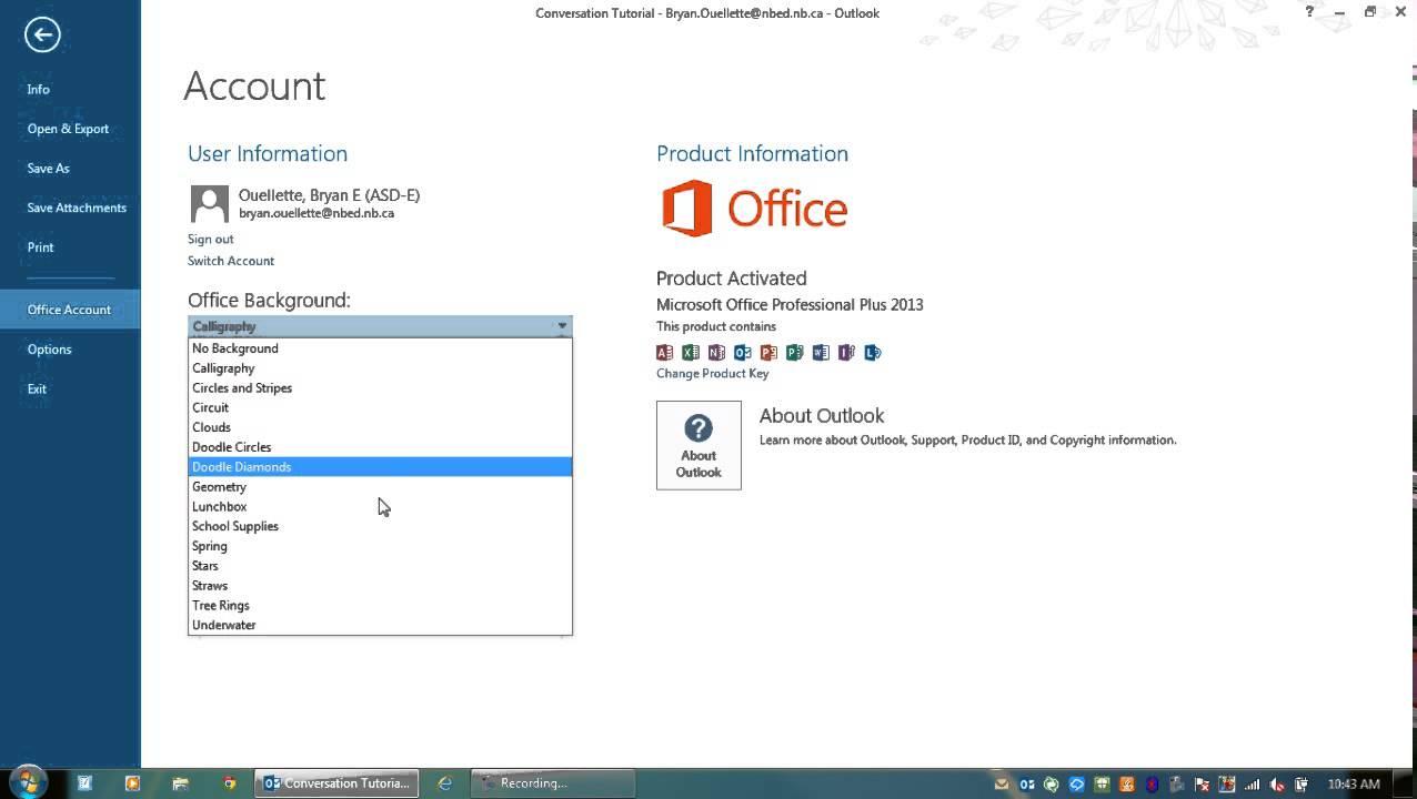 Microsoft Outlook Theme Settings Youtube