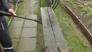 Интерскол АМ120/1500(Шланг с обратным клапаном, погружен до середины бочки. На скамье нет явной грязи, доски потемневшие от време..., 2013-05-11T19:51:23.000Z)