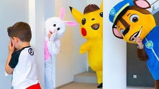 Artem playing hide and seek with Pokémon Pikachu - Fun children game
