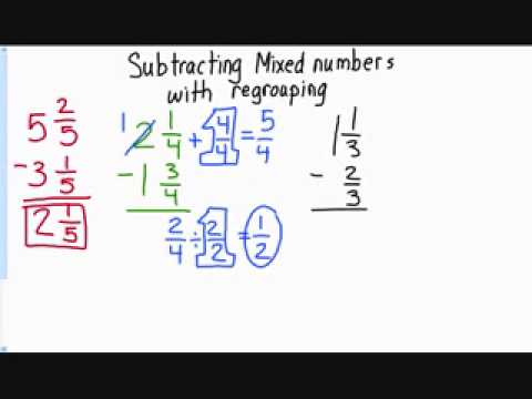 math worksheet : subtracting mixed numbers with regrouping  youtube : Subtracting Mixed Numbers With Renaming Worksheet