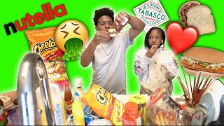 ME AND MY SISTER TRY WEIRD FOOD COMBINATIONS!