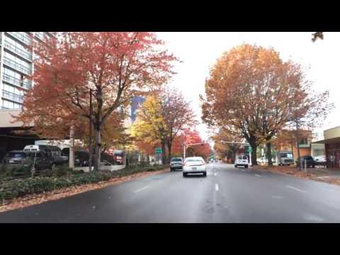Driving Downtown Eugene Oregon USA