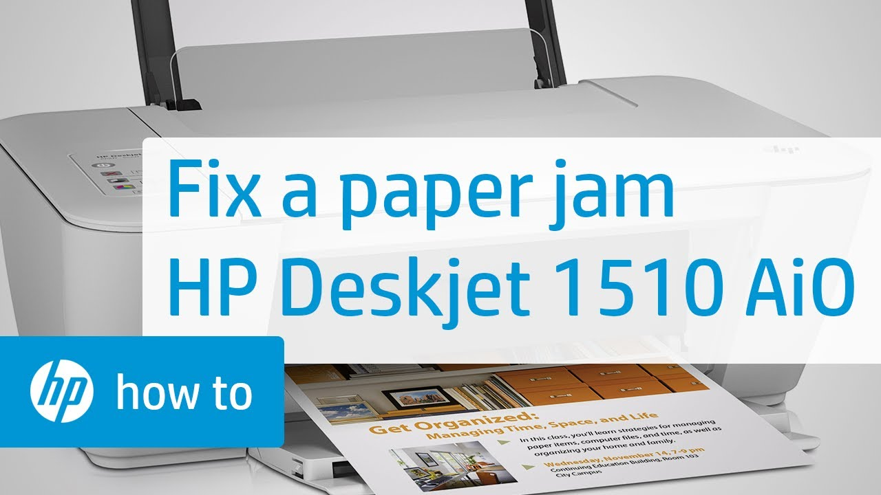 Fixing A Paper Jam Hp Deskjet 1510 All In One Printer Hp Youtube