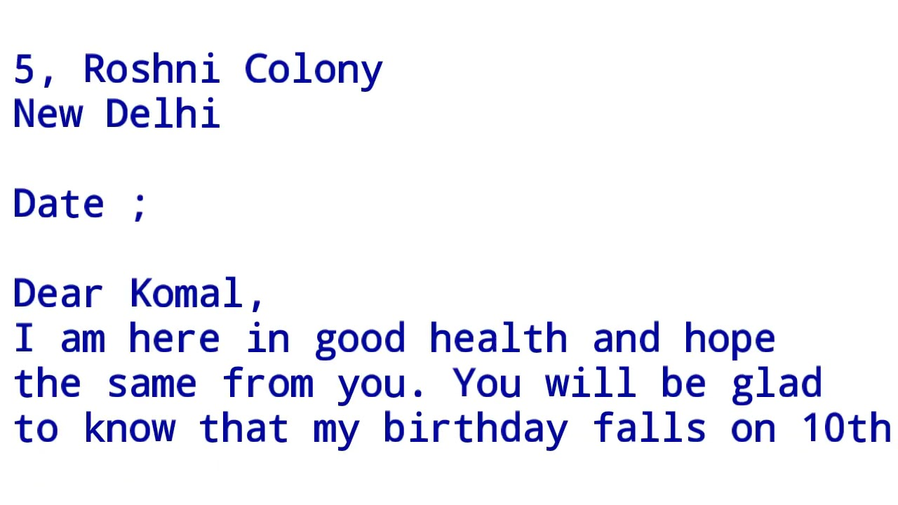 write a letter to a friend inviting him her to attend your birthday party letter writing in english