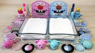 Blue vs Pink / Mixing Makeup and Glitter into White Slime! Special Series Satisfying Slime Video