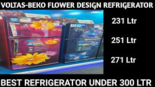 Voltas-Beko Flower Design Double Door Refrigerator . Best Refrigerator under 300 Ltr Capacity