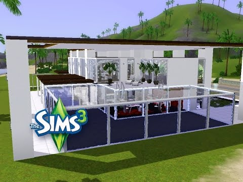 sims 3 haus bauen let 39 s build modernes haus mit angebautem pool youtube. Black Bedroom Furniture Sets. Home Design Ideas