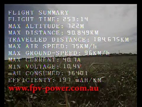 Long range FPV flight 4.2 hours / 90km max distance  with Lithium Ion.