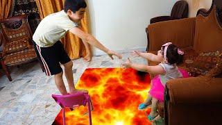 The Floor is Lava with Celina and Hasouna - سيلينا وحسونة بركان