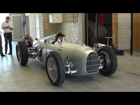 Auto Union Grand Prix racing car Type C, 1936 V16 Start up and Revs