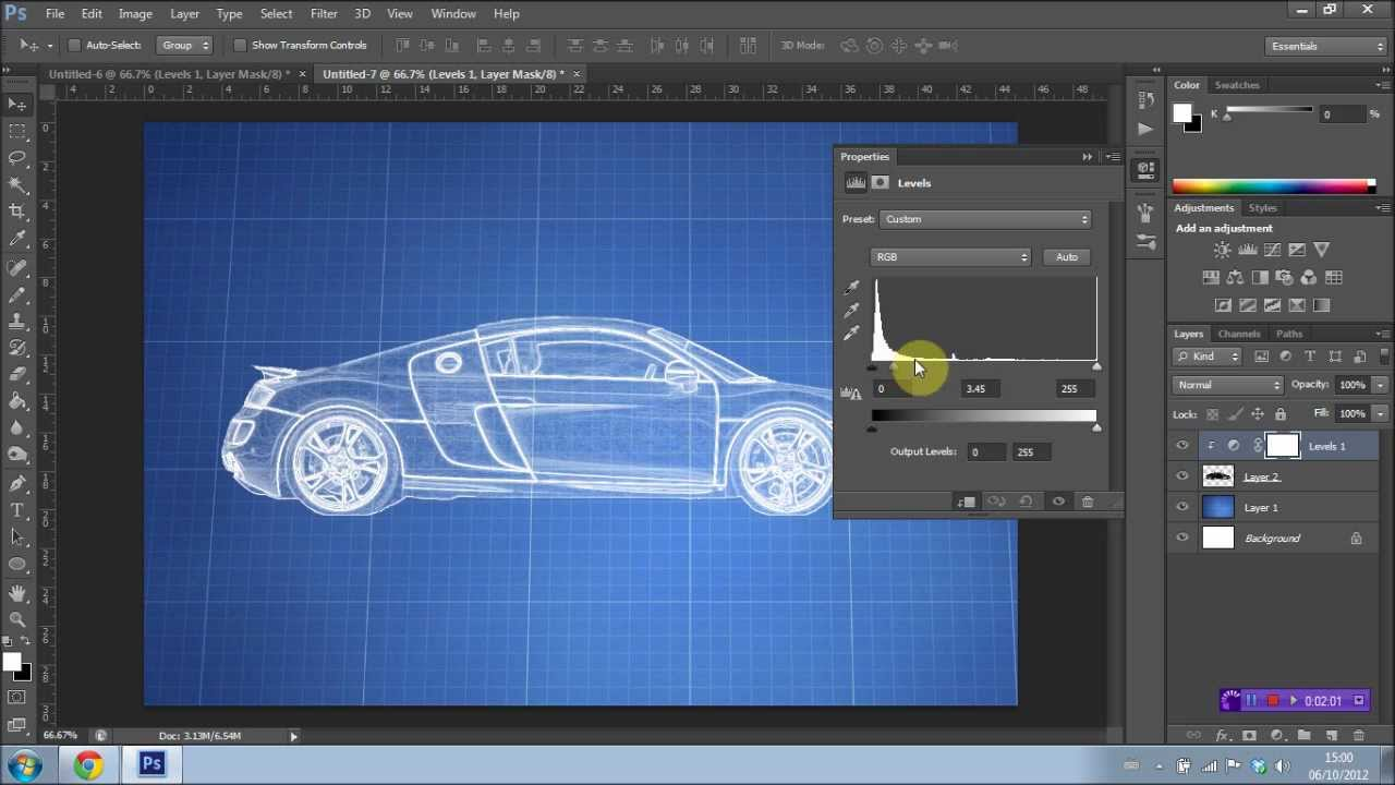 How to create a blueprint effect in photoshop cs6 youtube how to create a blueprint effect in photoshop cs6 malvernweather Choice Image