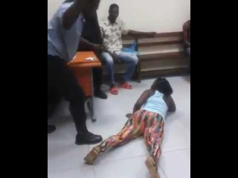 See how this lady was flogged mercilessly on the ass by a police officer