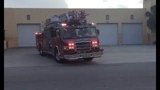 Delray Beach Fire Rescue New Ladder 111 Responding