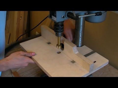 Building A Pillar Drill / Drill Press Table (adjustable fence, extraction hose & inlaid rulers)