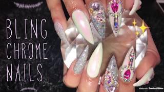 Acrylic Nails Tutorial | Fill | Bling Chrome nails