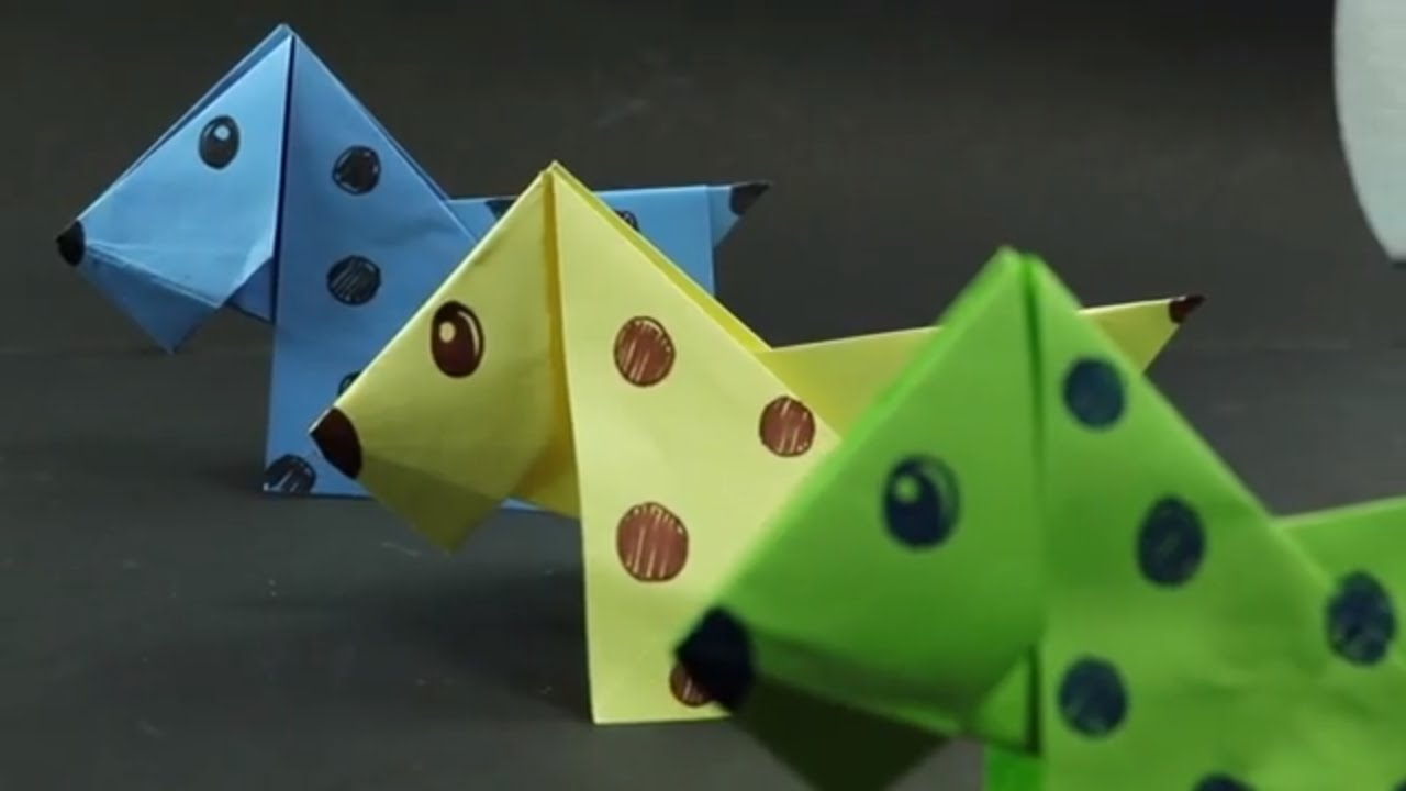 How To Make A Paper Origami Dog Easy Crafts Origami For Kids