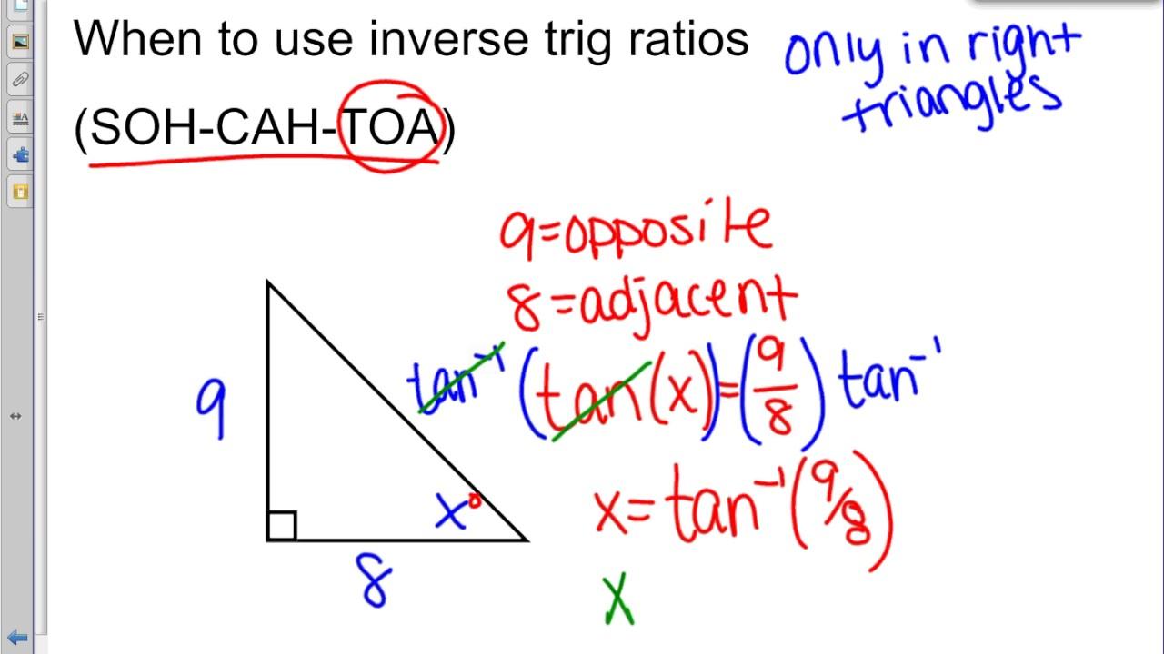 worksheet Inverse Trigonometric Ratios inverse trig ratios soh cah toa youtube toa