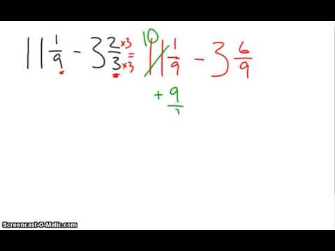 Subtracting Mixed Numbers with Renaming - YouTube