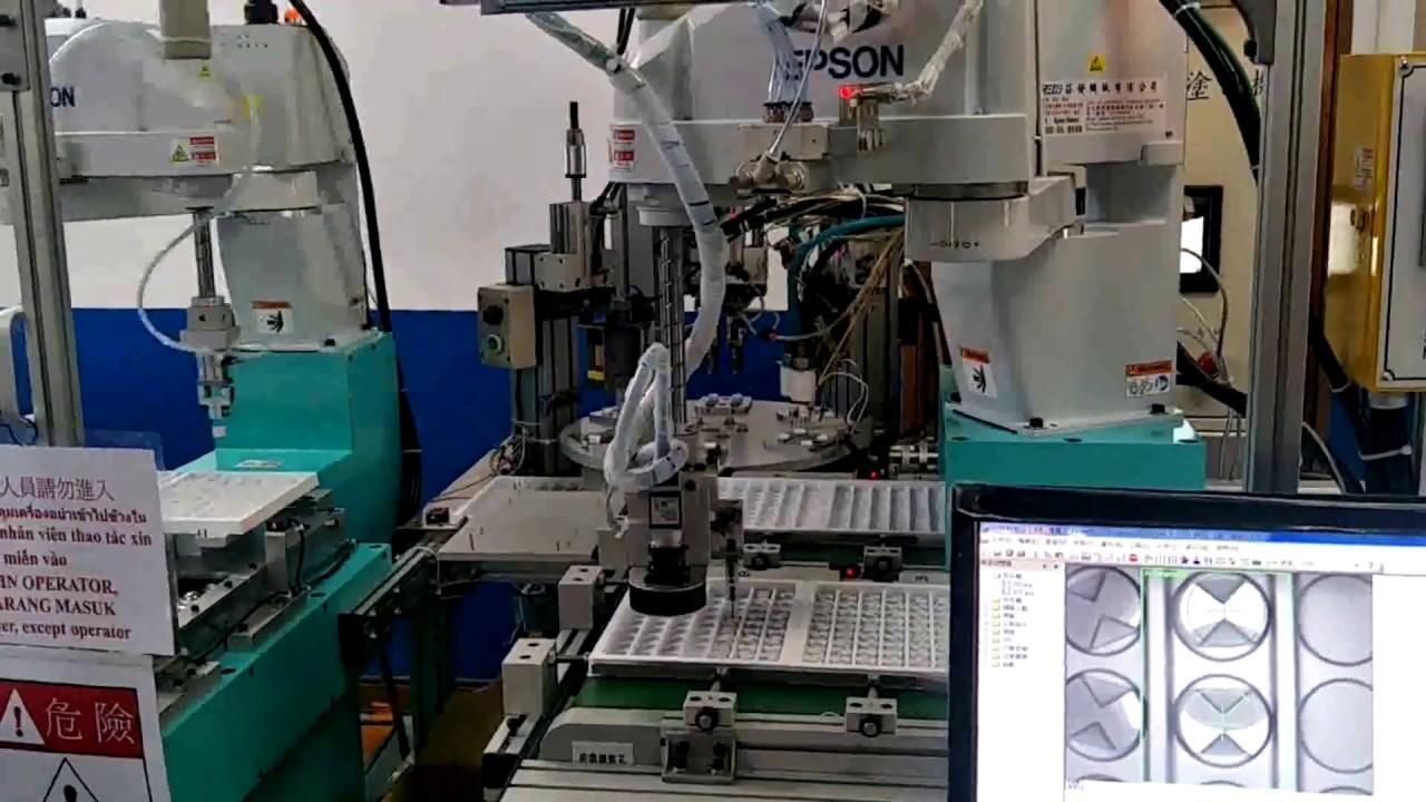 四軸機械手臂加CCD視覺取放影片 - YouTube