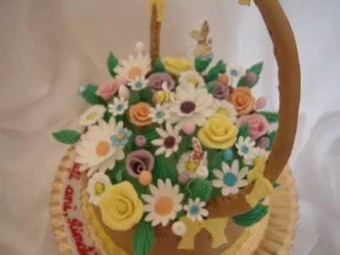Basket Flower Fondant Cake YouTube