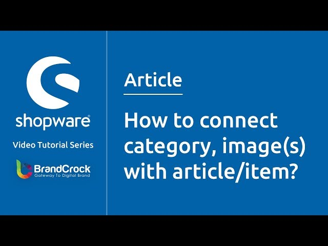 Shopware tutorials: How to connect category, images with article/item