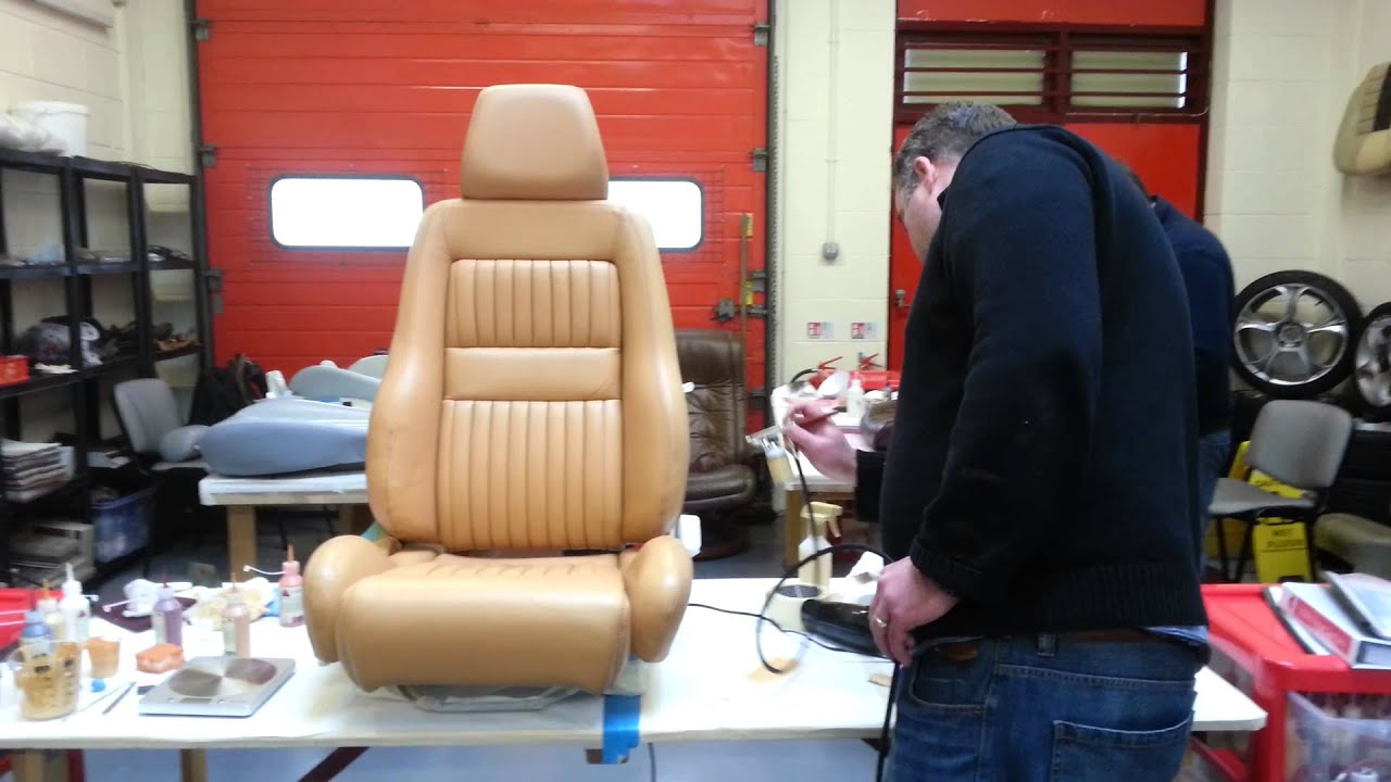 spraying leather car seats leather repair training youtube. Black Bedroom Furniture Sets. Home Design Ideas
