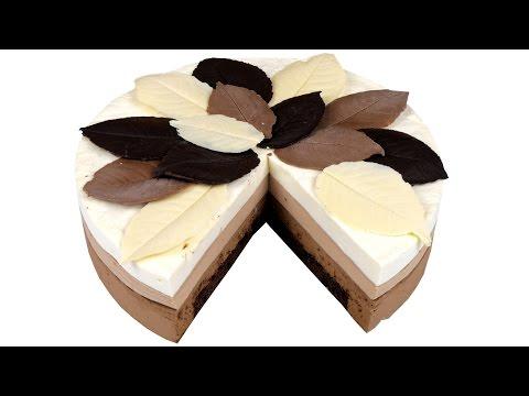 Торт Три шоколада. Нежный муссовый шоколадный торт. Подробный видео рецепт.