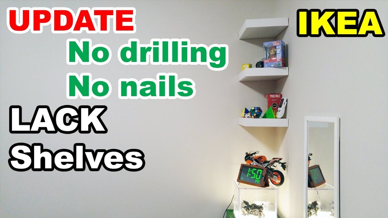 reputable site dfc5c 0d4e4 IKEA Lack shelf no drilling no nails on wall UPDATE