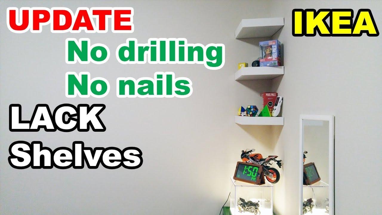 Ikea Lack Shelf No Drilling No Nails On Wall Update Youtube