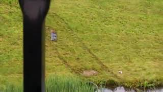 Car lands in pond after Route 1 crash