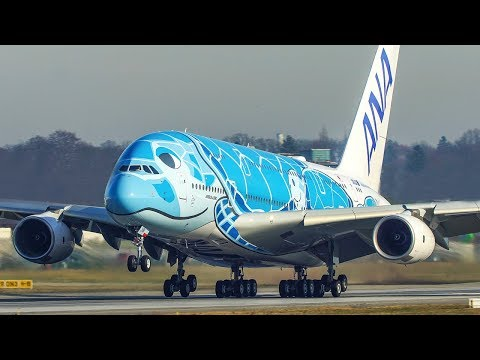 AIRBUS A380 LANDING and DEPARTURE - The TURTLE A380 departs for a TEST FLIGHT (4K)