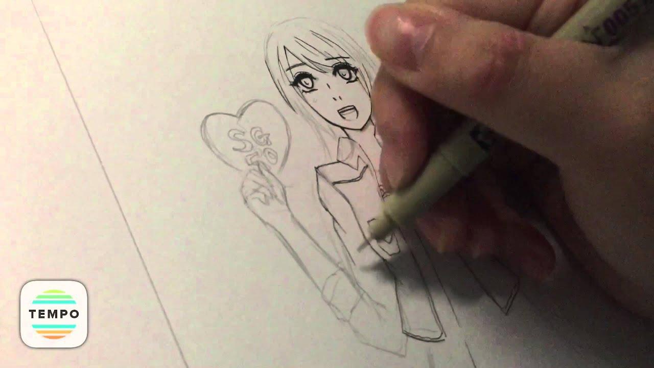 Line Art Anime : Inking line art anime girl drawing speed youtube